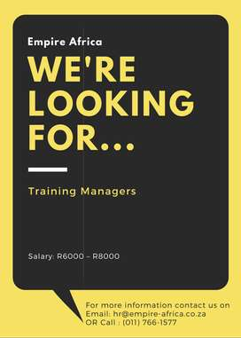 Training Manger vacancy available in Roodepoort