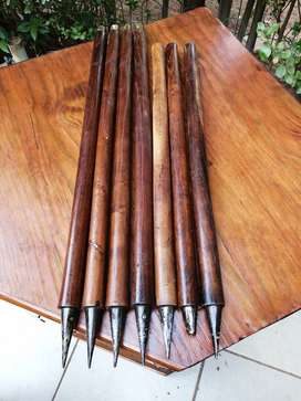 Awesome set of vintage steel tip cricket wickets.