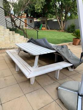 2m x 2m ( 8 to 10 seater)white wooden garden table & bench with cover