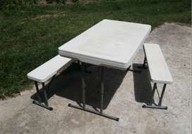 Fold-up picnic table and benches