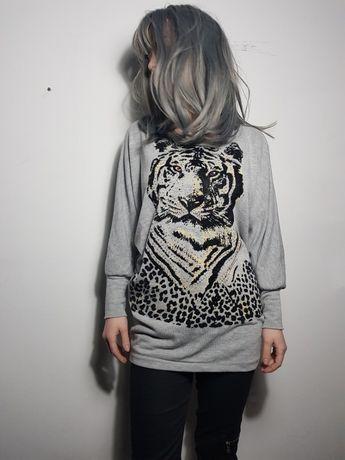 szara bluzka tygrys, rozmiar uniwersalny Kraków - image 1