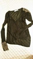 Sweter cienki damski zara czarny s m 36 38