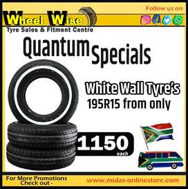 Quantum Specials White Wall Tyre's 195R15 from ONLY R1150 each