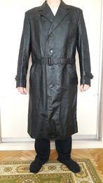 Плащ кожаный чёрный мужской 56-58размер.