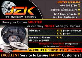 Jzk disc and drum skimming off car