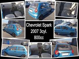 Chevrolet Spark 2007 3cyl. 800cc stripping for spares.