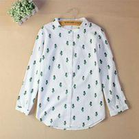 Nowa biała koszula w kaktusy kaktus m