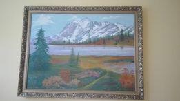 Obraz olejny, górski pejzaż Sporakowski 100x75, złota rama