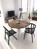 Stół okrągły rozkładany stare drewno retro design unikat loft vintage