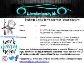 Bookings Clerk / Service Advisor (Motor Industry) - Durban