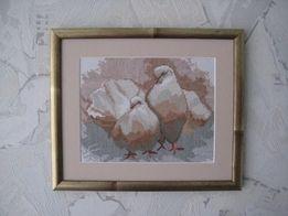 Картина вышивка крестиком Пара голубей