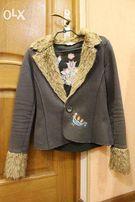 Стильный жакет (пиджак) женский с мехом и вышивкой