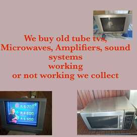 Old tube tvs, led tvs, microwaves, Amplifiers