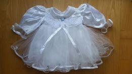 sukienka biała na chrzest rozm. 74, bolerko, spodenki białe