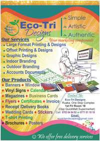 Printing and Designs 1,300 (Banners, stickers, brochures, 0
