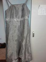 Sukienka 40 L srebrna, ślub, wesele podwyższony stan moze być ciążowa