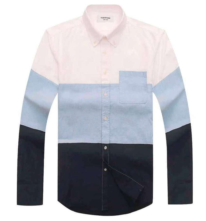 Thom Browne Classic Long Sleeve Shirt in Multi-Colored Stripe Oxford 0