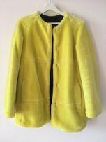 Zara neon yellow faux fur / żółty płaszcz / sztuczne futro