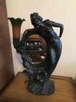 Unikatowe rzeźbione LUSTRO Z LAMPĄ, lampa, lustro, rzeźba kobiety