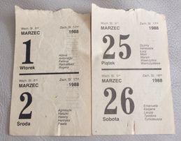 Kartki z kalendarza 1988 rok podwójne daty oryginalne