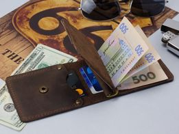 Зажим для денег model.Rebel-classic.Кожаный кошелек.Портмоне.