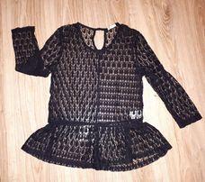 Elegancka czarna koronkowa bluzka z baskinką 34 36