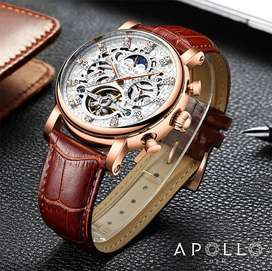 Automatic Tourbillon Apollogem Luxury Watch with leather straps