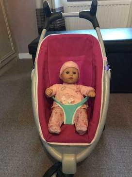 Baby Annabelle doll and Quinny pram