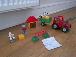 LEGO Duplo 5644 i 5647 kurnik farma oraz duży traktor z przyczepą