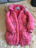 Зимняя куртка на девочку в хорошем состоянии,тёплая,персикового цвета.