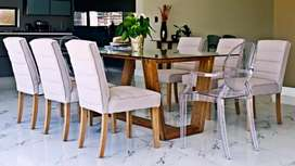 Dining Set with Side Table & Ghost Chairs