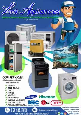 Appliance repairs, Refrigeration, AirConditioning, Electrical services