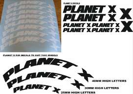 Planet X bicycle and rim decals / vinyl cut stickers