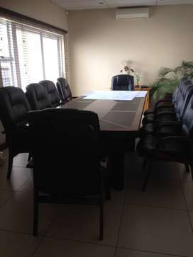 Mahogany Boardroom Table & 10 Leather Chairs   30