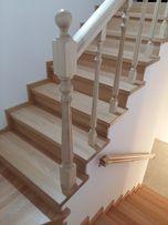 Лестница деревянная по бетону и металлу на второй этаж.