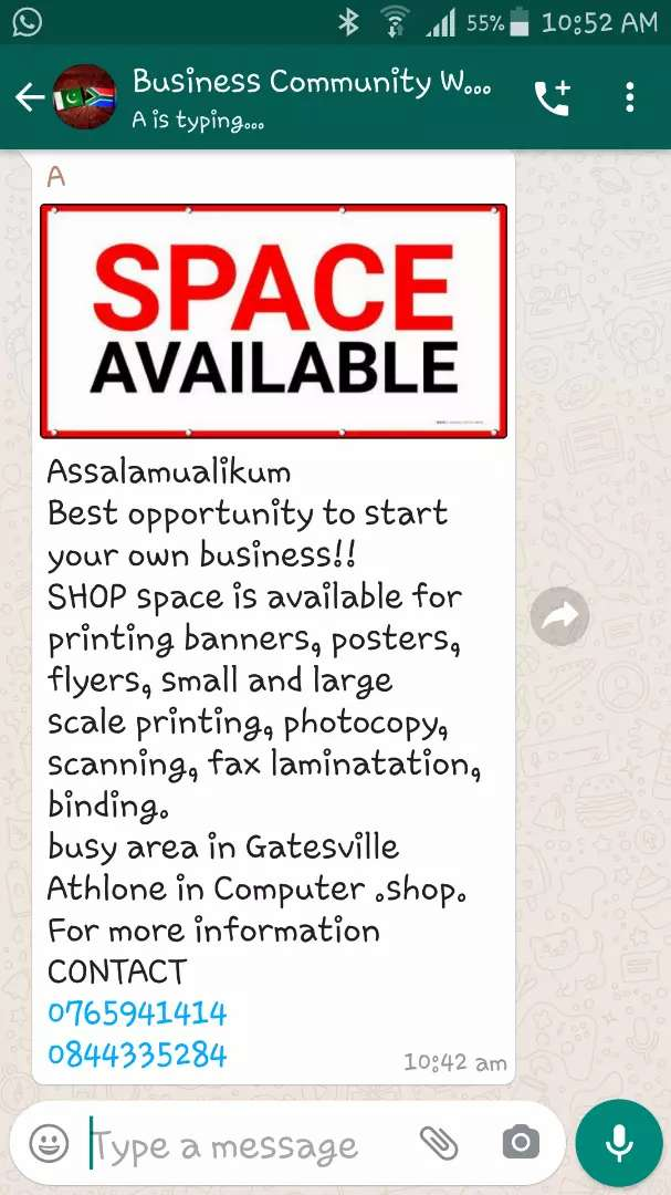Space available in computer cellphone repair shop tolet 0