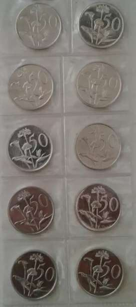Nice set of 10 old 50c proof coins (1970 -1982)