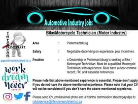 Bike/Motorcycle Technician (Motor Industry) - Pietermaritzburg