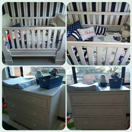 Large Sleigh Cot and compactum for sale