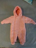 Демисизонный розовый комбенизон на девочку 3-6 месяцев весна-осень