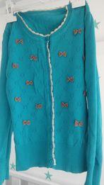 wiosenny sweterek, turkusowy, kokardki rozm.36