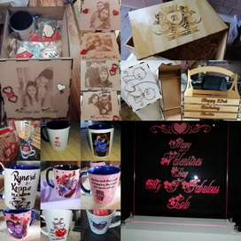 Lights, mugs, laser cut boxes photo engraving