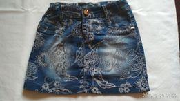Синяя джинсовая юбка с узором 152см