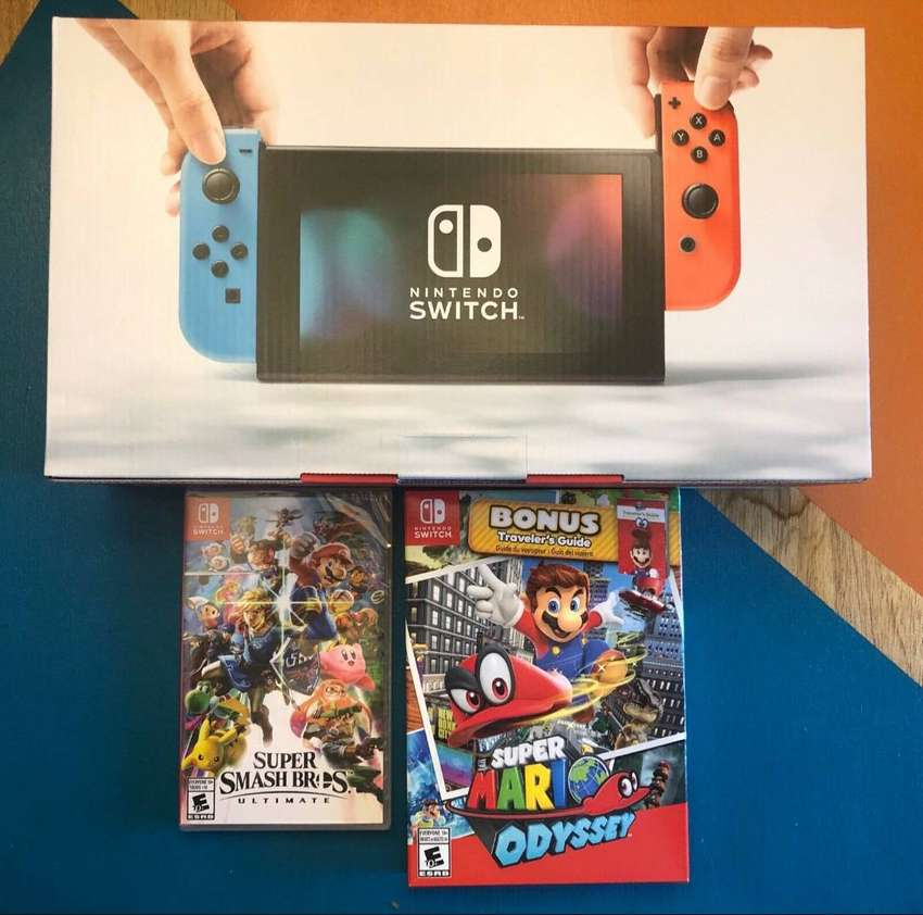 Nintendo Switch Console Lot with Red and Blue Joy-Cons and Games 0