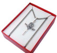 Srebrny Krzyżyk Bóg Honor Ojczyzna Cnota z Łańcuszkiem Srebro Srebny