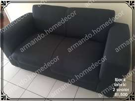 New black fabric 2 seater couch for bedroom or lounge