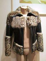 Кожаная куртка с мехом дизайнерская 34-36 р.