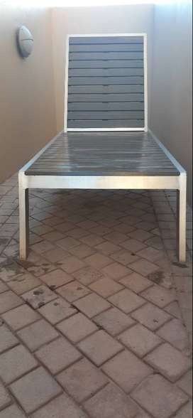 3 x Swimming pool Loungers & 2 x side tables