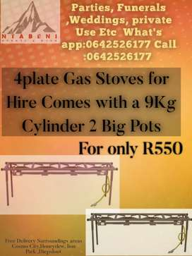 4plates Gas Stove for HIRE