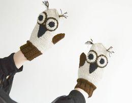 Rękawiczki jednopalczaki sowy made in POLAND